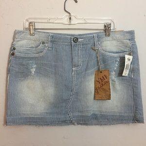 YMI Cute Blue White Denim Pinstripe Mini Skirt